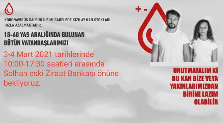 3-4 Mart'ta Kan Bağış Tır'ı Solhan'da