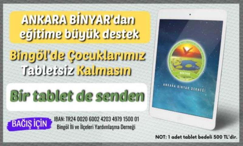 Ankara Binyar Derneğinden Tablet Kampanyası