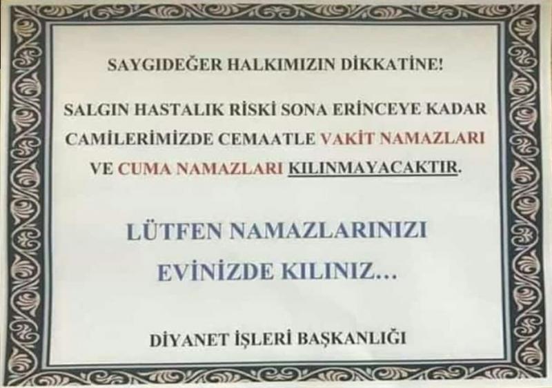 Diyanet'ten Cuma ve Cenaze Namazı Açıklaması