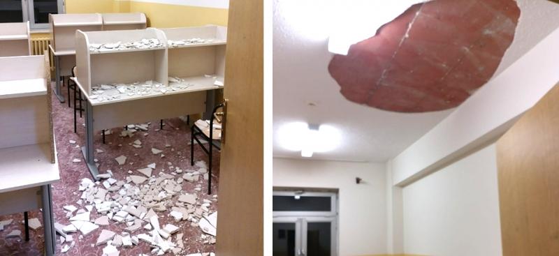 Tavan Alçısının Düşmesi Sonucu Öğrenciler Yaralandı